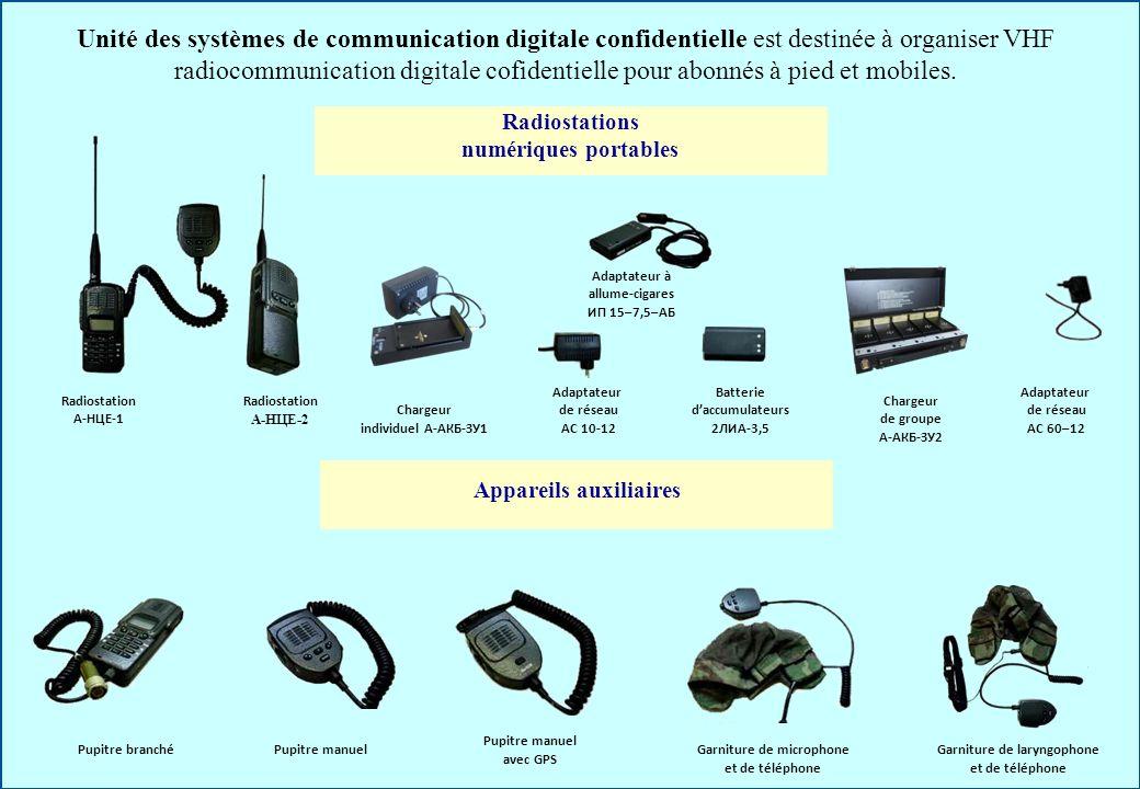 Unité des systèmes de communication digitale confidentielle est destinée à organiser VHF radiocommunication digitale cofidentielle pour abonnés à pied et mobiles.