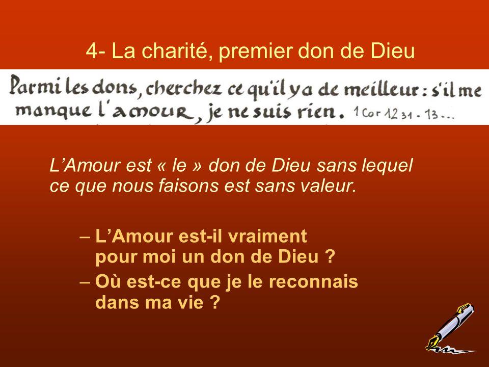 4- La charité, premier don de Dieu