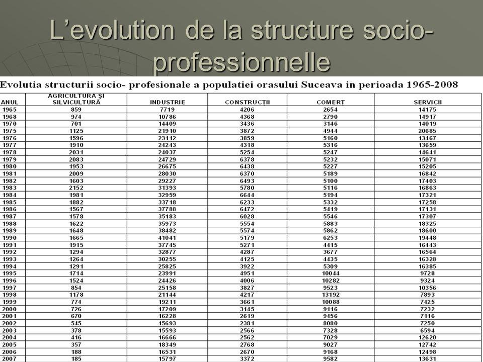 L'evolution de la structure socio- professionnelle