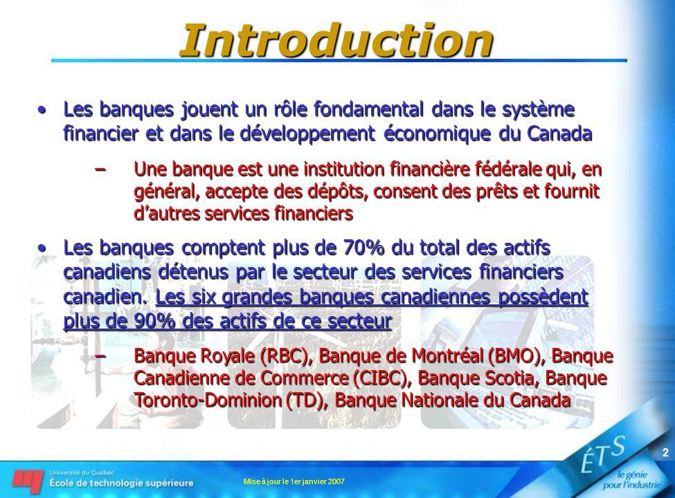 Introduction Les banques jouent un rôle fondamental dans le système financier et dans le développement économique du Canada.