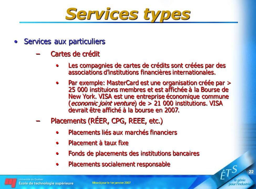 Services types Services aux particuliers Cartes de crédit