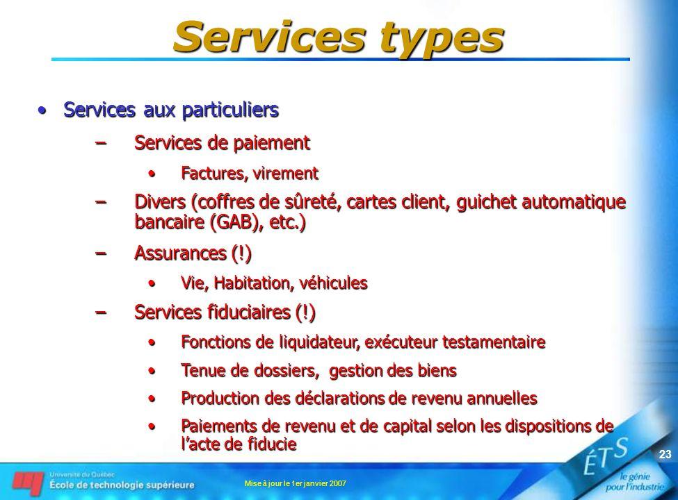 Services types Services aux particuliers Services de paiement