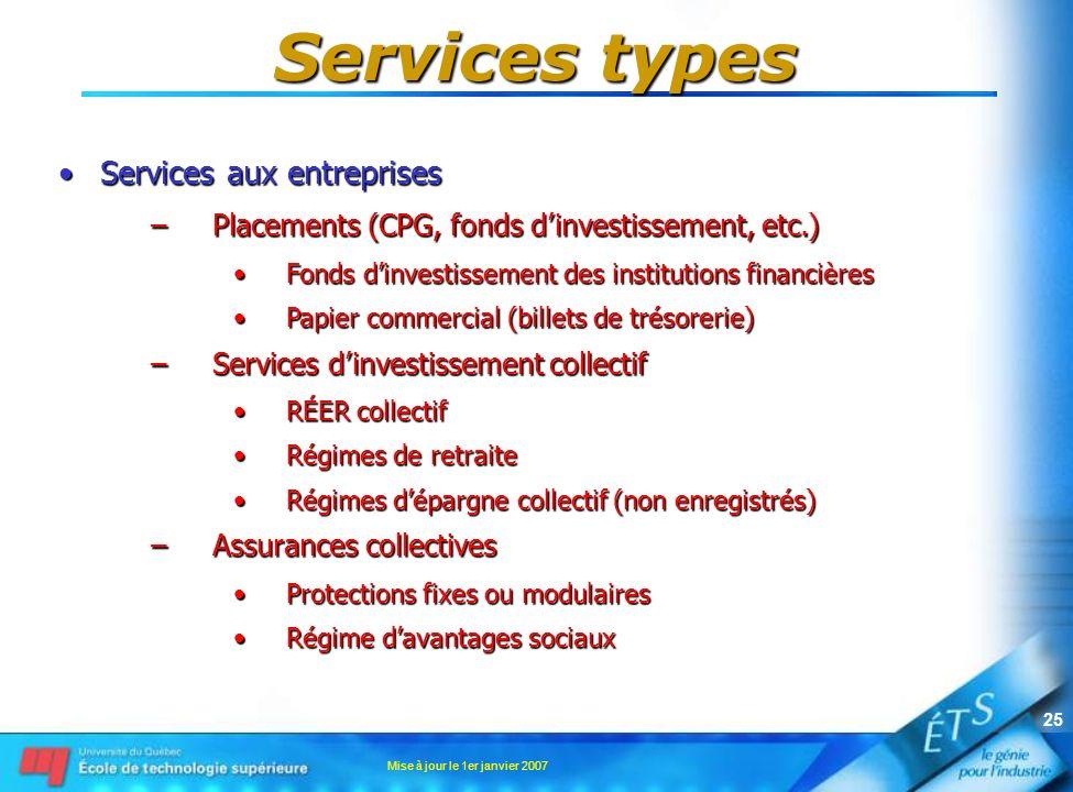 Services types Services aux entreprises