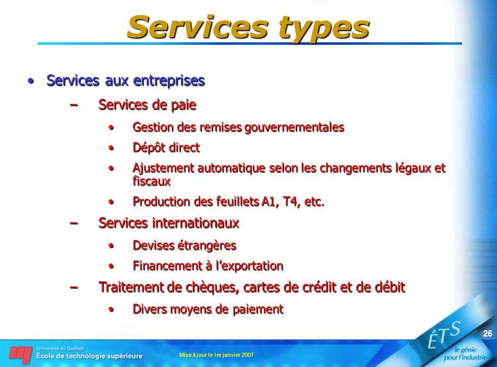 Services types Services aux entreprises Services de paie