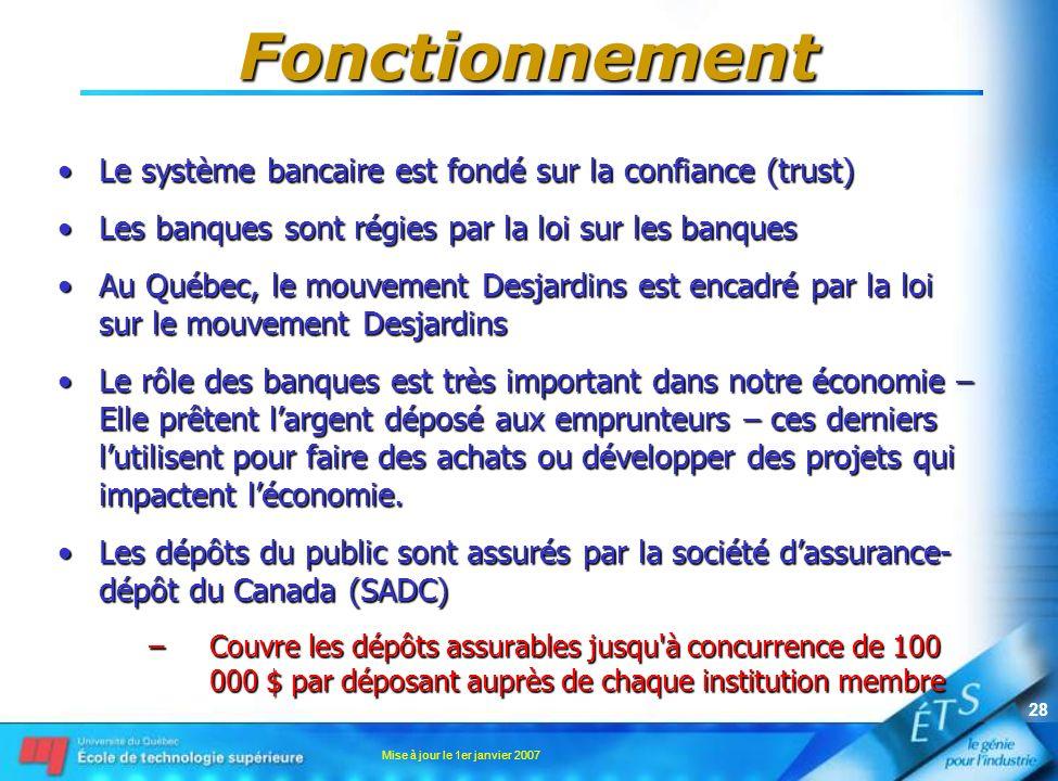 Fonctionnement Le système bancaire est fondé sur la confiance (trust)