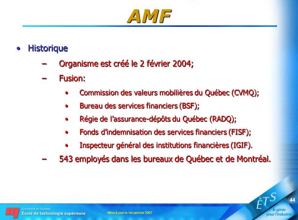 AMF Historique Organisme est créé le 2 février 2004; Fusion: