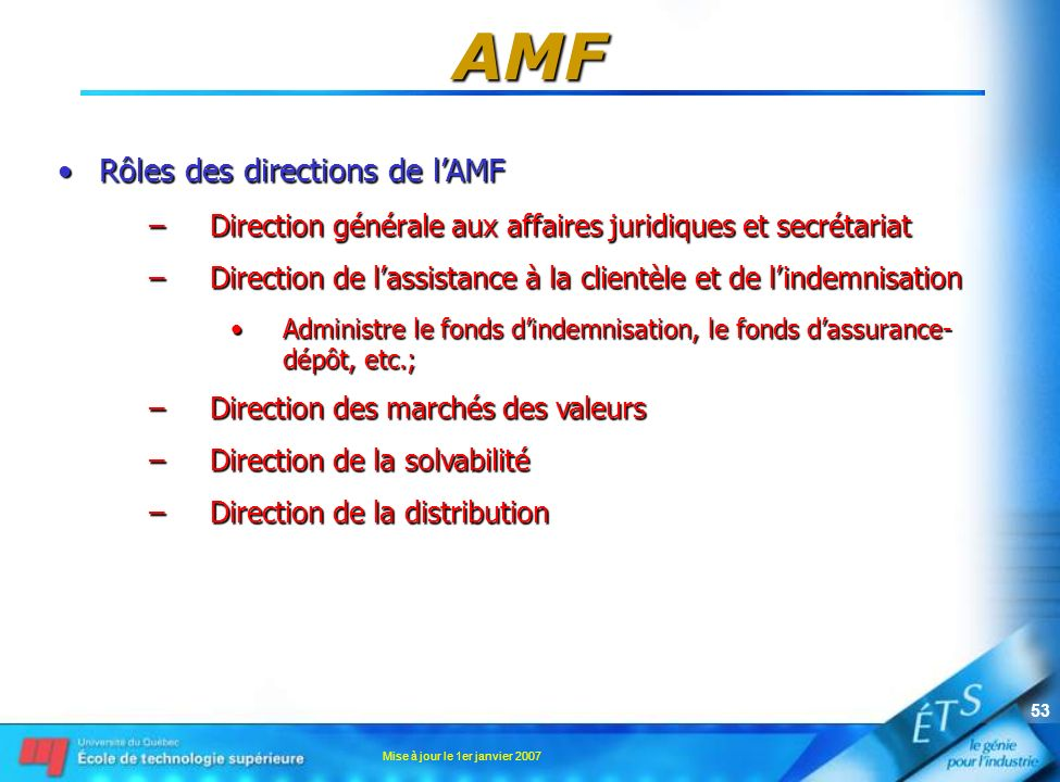 AMF Rôles des directions de l'AMF