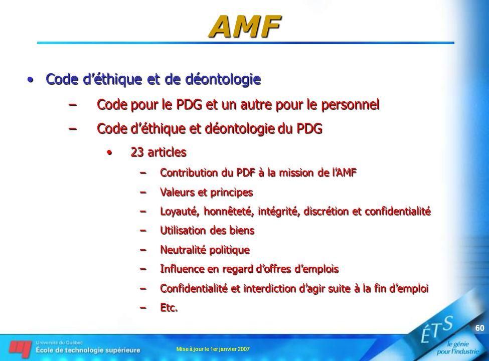 AMF Code d'éthique et de déontologie