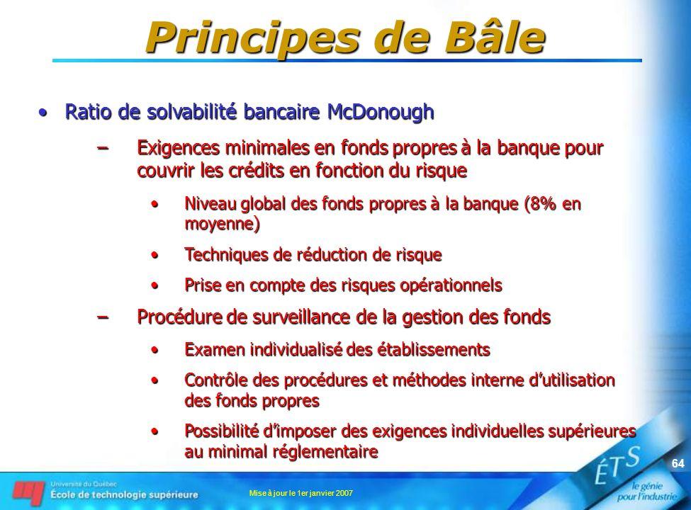 Principes de Bâle Ratio de solvabilité bancaire McDonough
