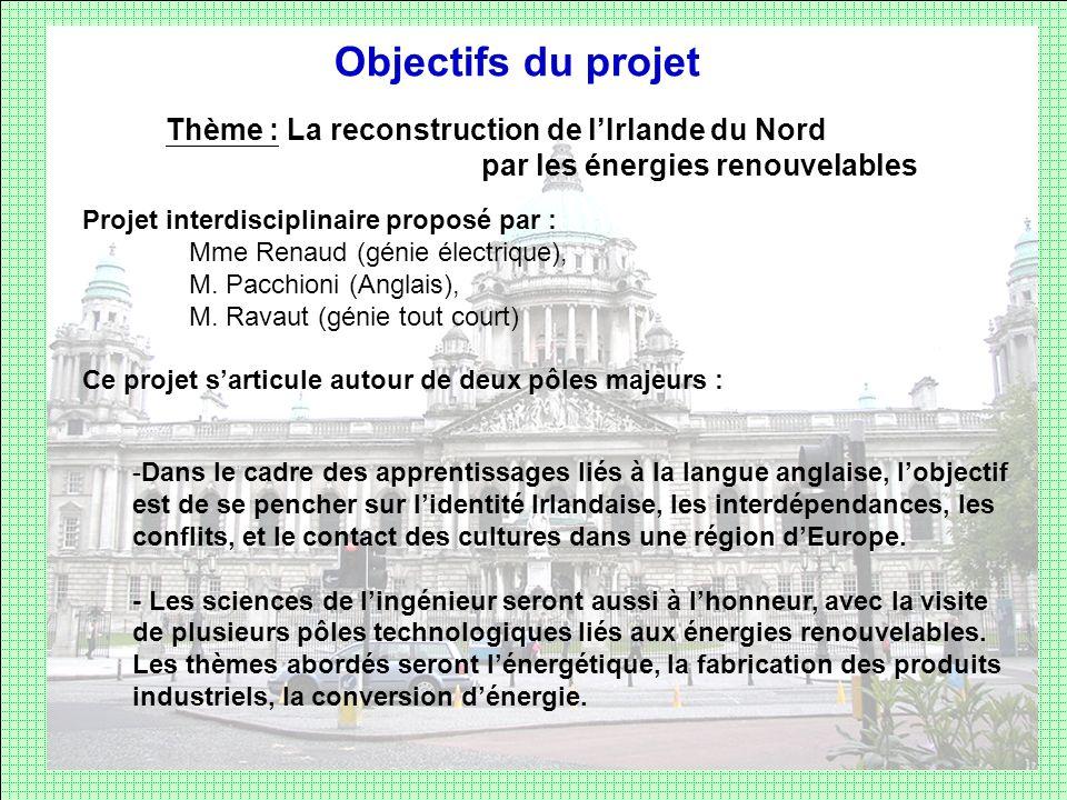 Objectifs du projet Thème : La reconstruction de l'Irlande du Nord