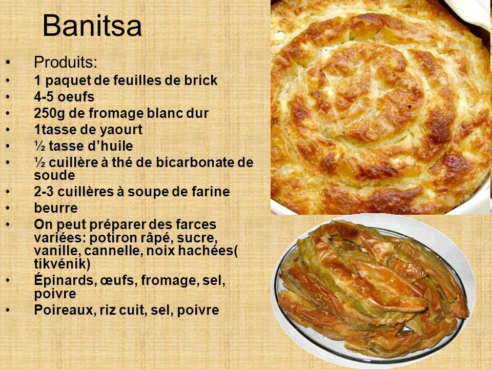 Banitsa Produits: 1 paquet de feuilles de brick 4-5 oeufs