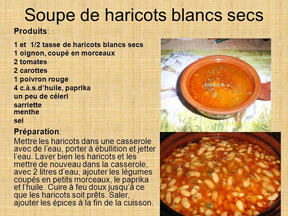 Soupe de haricots blancs secs