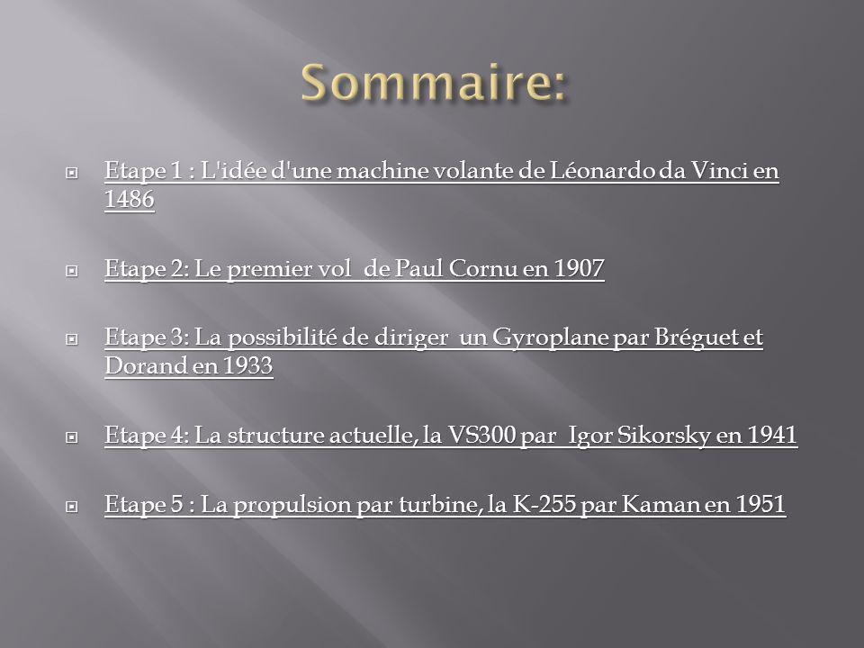 Sommaire: Etape 1 : L idée d une machine volante de Léonardo da Vinci en 1486. Etape 2: Le premier vol de Paul Cornu en 1907