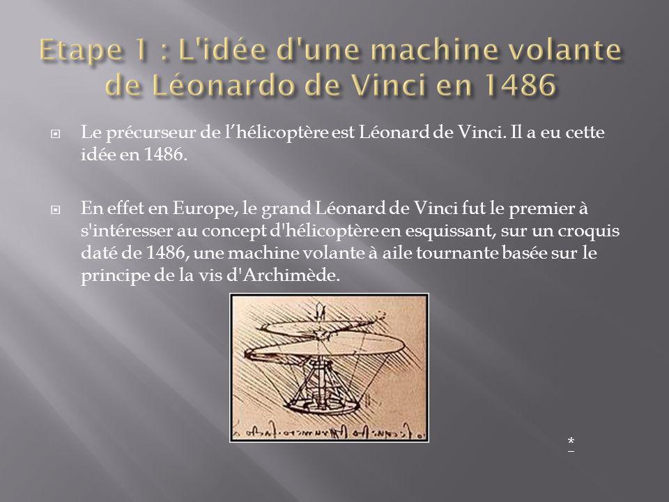 Etape 1 : L idée d une machine volante de Léonardo de Vinci en 1486