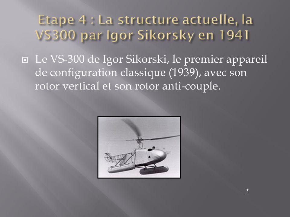 Etape 4 : La structure actuelle, la VS300 par Igor Sikorsky en 1941