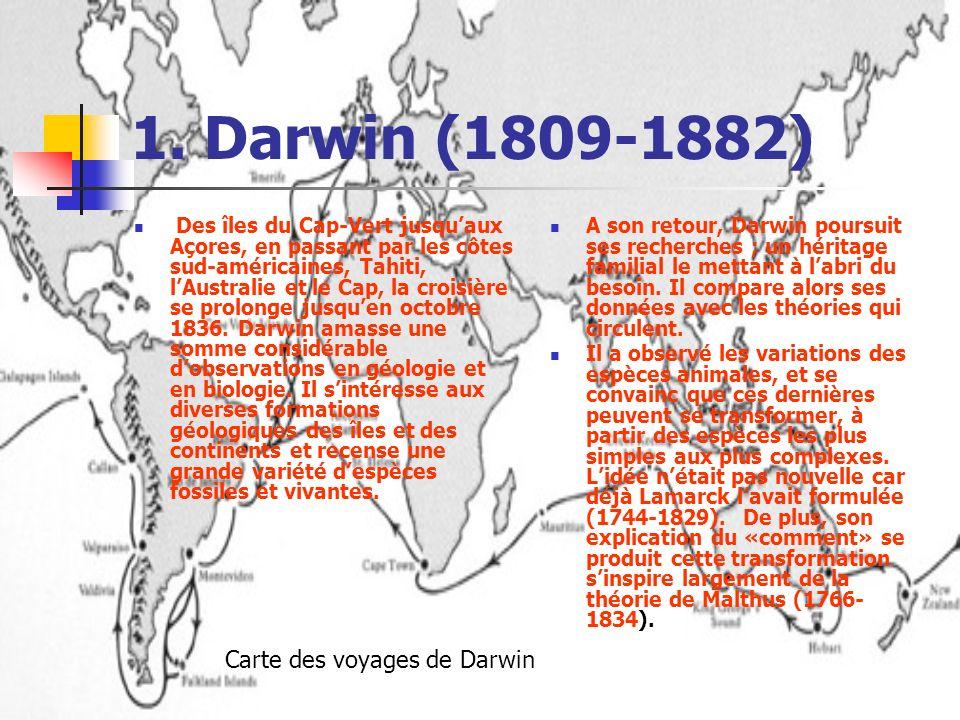 1. Darwin (1809-1882) Carte des voyages de Darwin