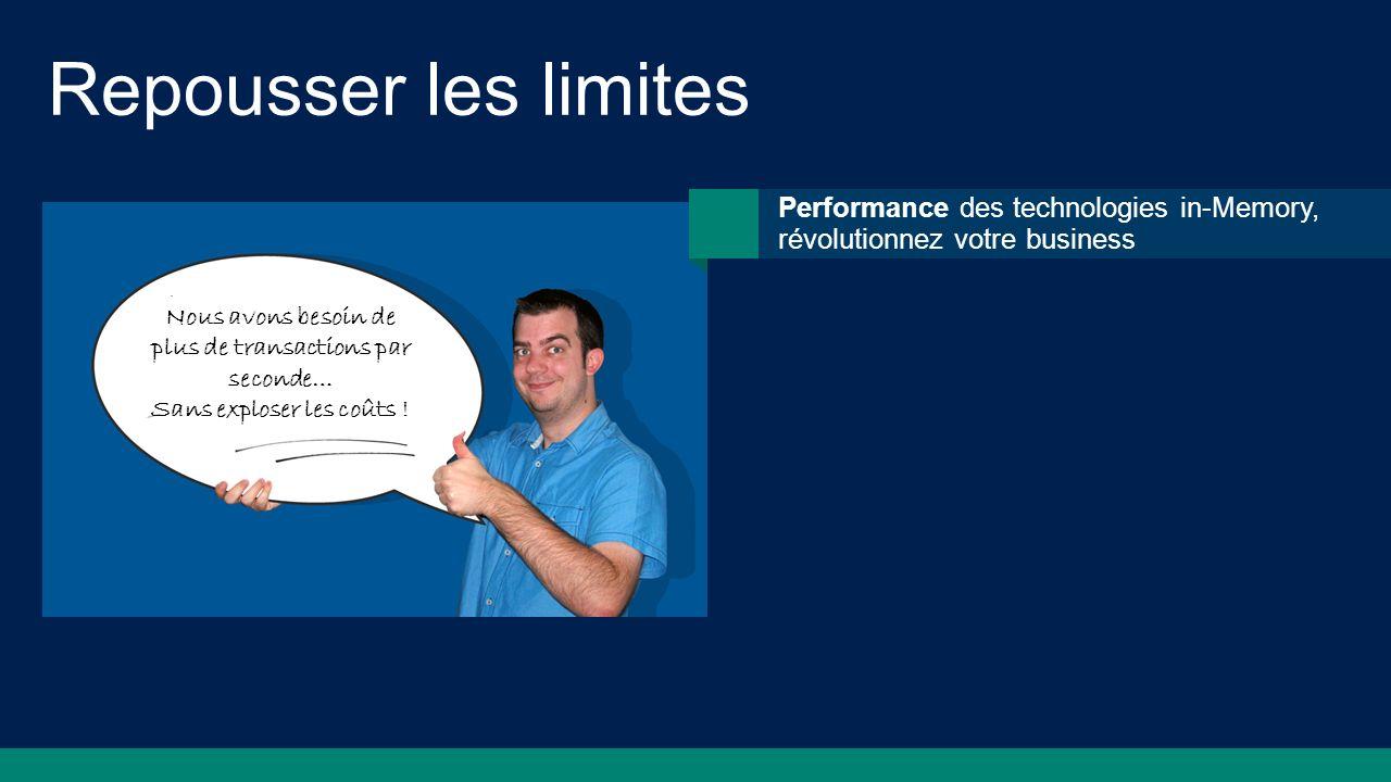 Repousser les limites Performance des technologies in-Memory, révolutionnez votre business. Nous avons besoin de plus de transactions par seconde…