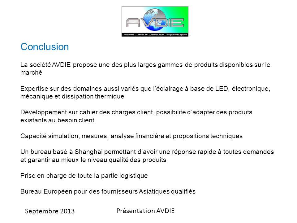 Conclusion La société AVDIE propose une des plus larges gammes de produits disponibles sur le marché.