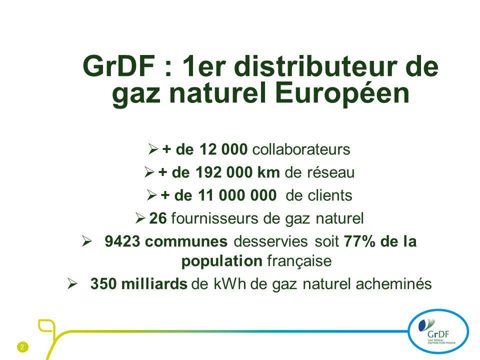 GrDF : 1er distributeur de gaz naturel Européen