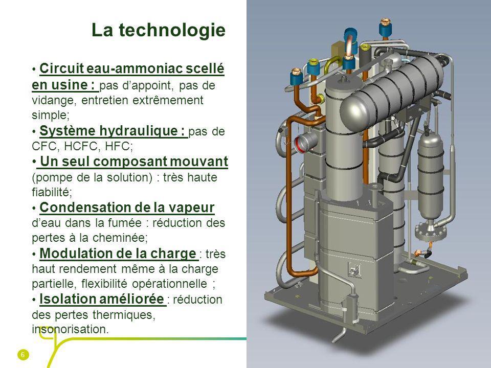 La technologie Circuit eau-ammoniac scellé en usine : pas d'appoint, pas de vidange, entretien extrêmement simple;