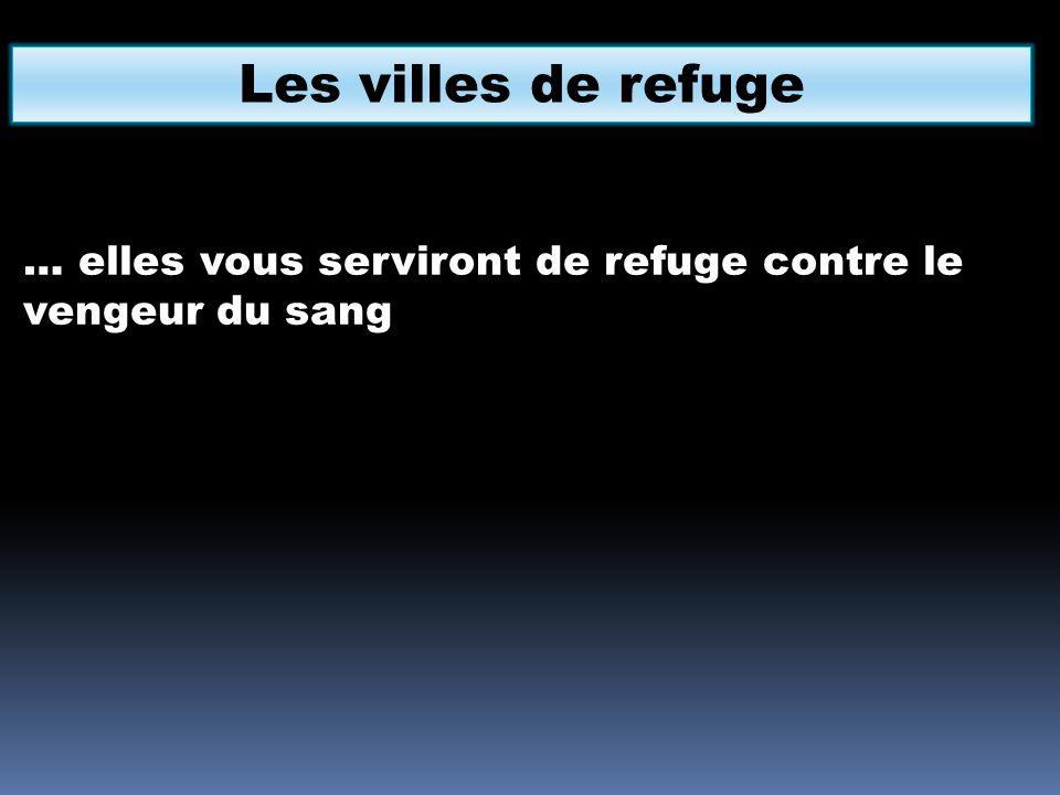 Les villes de refuge … elles vous serviront de refuge contre le vengeur du sang