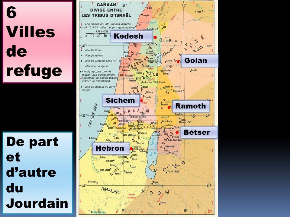 6 Villes de refuge De part et d'autre du Jourdain Kedesh Golan Sichem