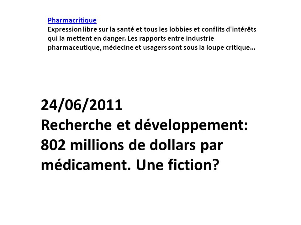Pharmacritique
