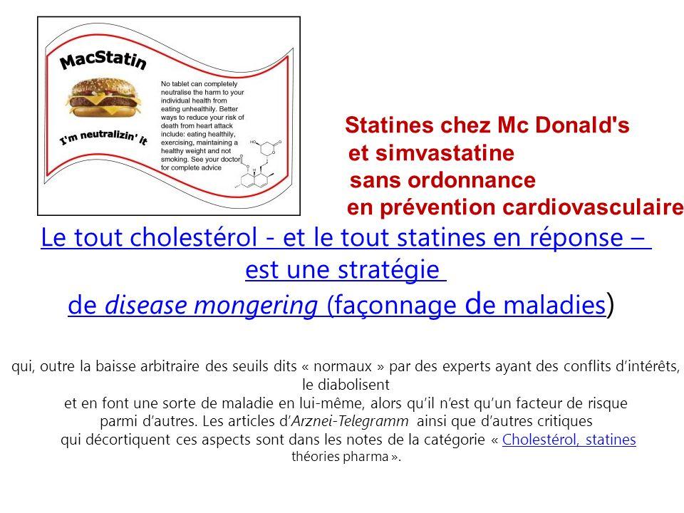 Statines chez Mc Donald s en prévention cardiovasculaire