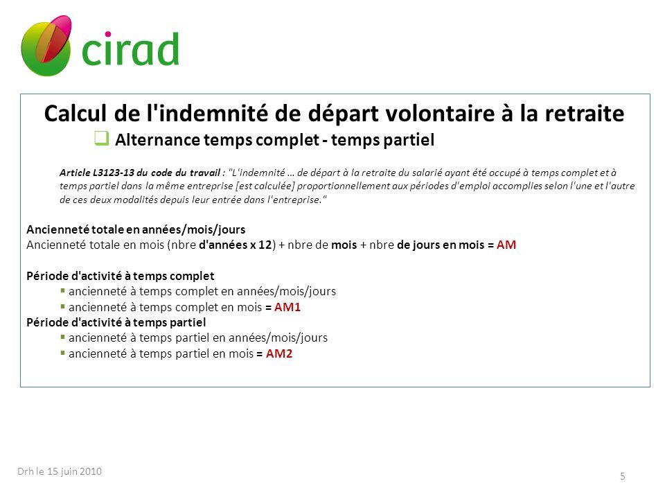 Calcul de l indemnité de départ volontaire à la retraite