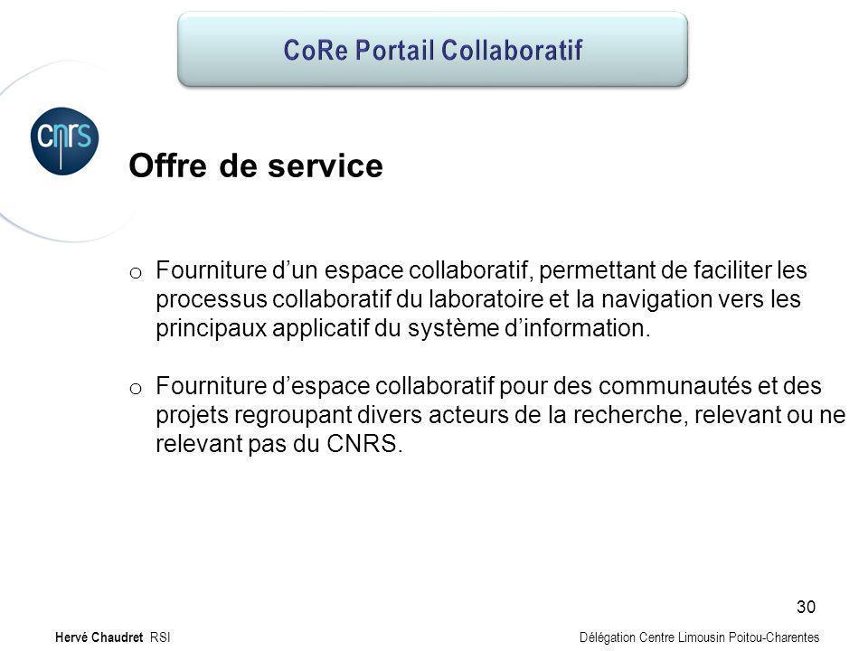 CoRe Portail collaboratif : Offre