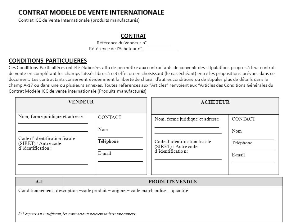 CONTRAT MODELE DE VENTE INTERNATIONALE