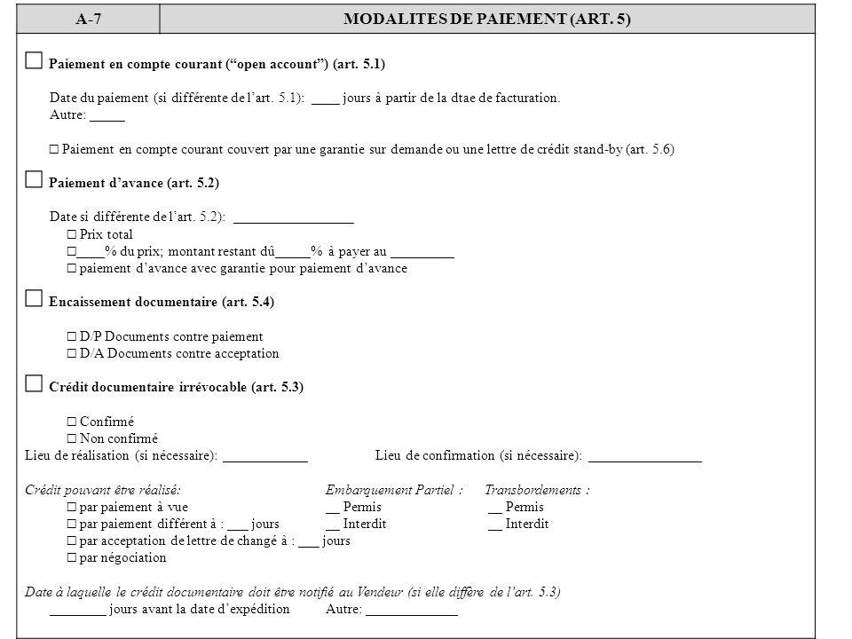 MODALITES DE PAIEMENT (ART. 5)