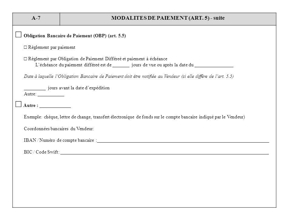 MODALITES DE PAIEMENT (ART. 5) - suite