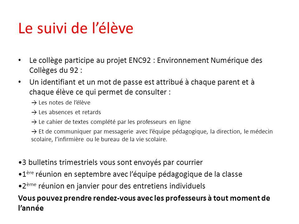 Le suivi de l'élève Le collège participe au projet ENC92 : Environnement Numérique des Collèges du 92 :