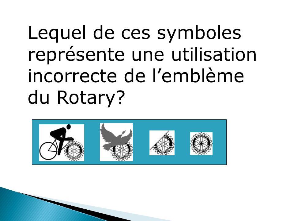 Lequel de ces symboles représente une utilisation incorrecte de l'emblème du Rotary