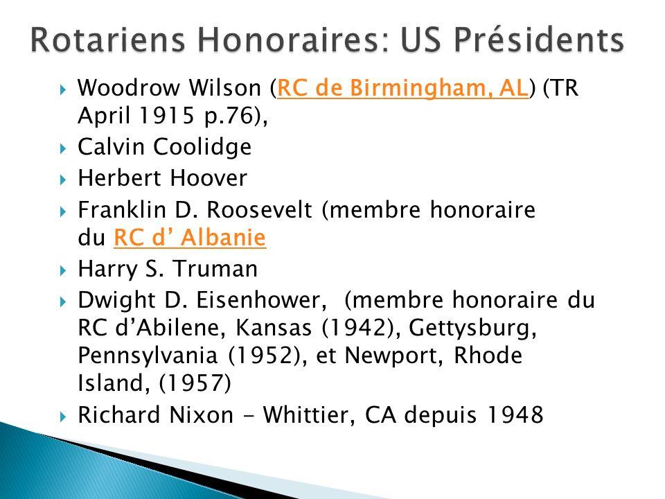Rotariens Honoraires: US Présidents