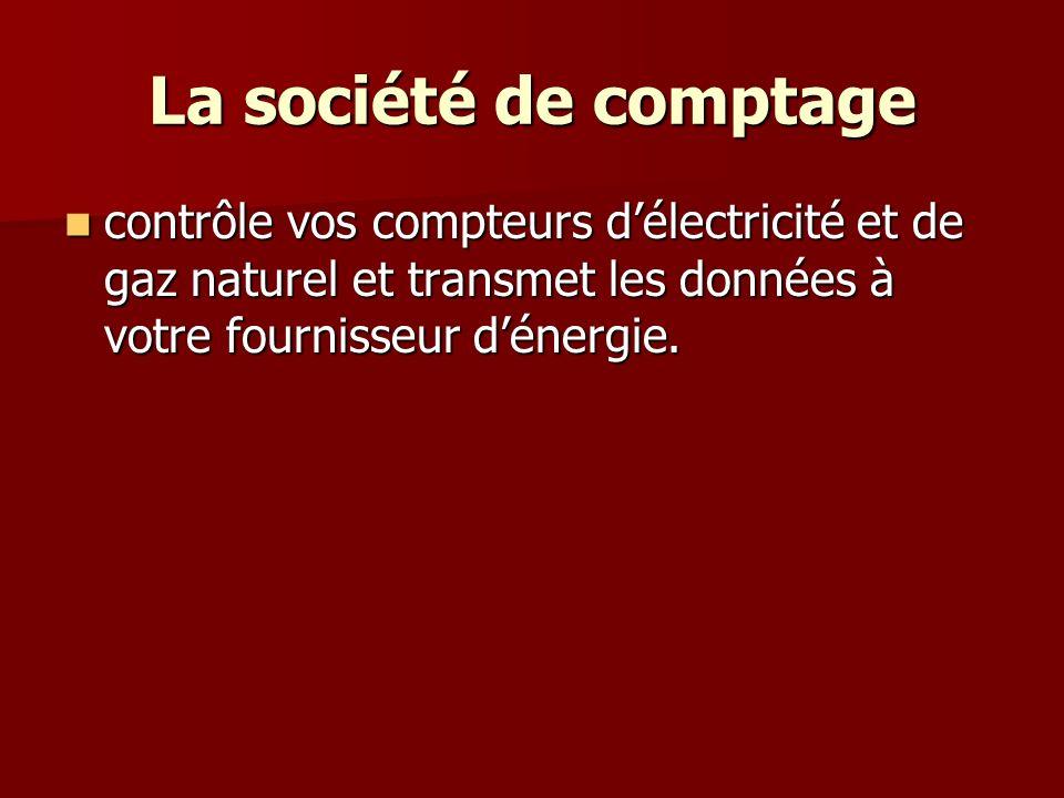 La société de comptage contrôle vos compteurs d'électricité et de gaz naturel et transmet les données à votre fournisseur d'énergie.
