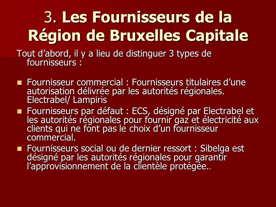 3. Les Fournisseurs de la Région de Bruxelles Capitale