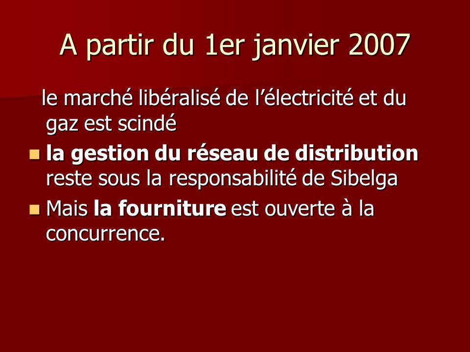 A partir du 1er janvier 2007 le marché libéralisé de l'électricité et du gaz est scindé