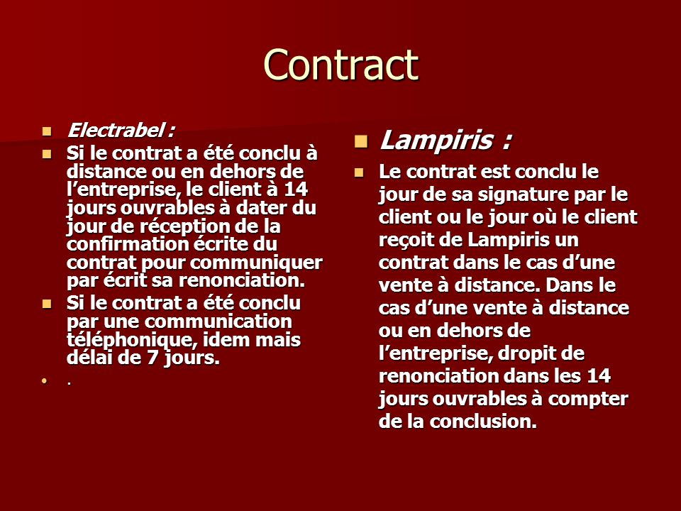 Contract Lampiris : Electrabel :
