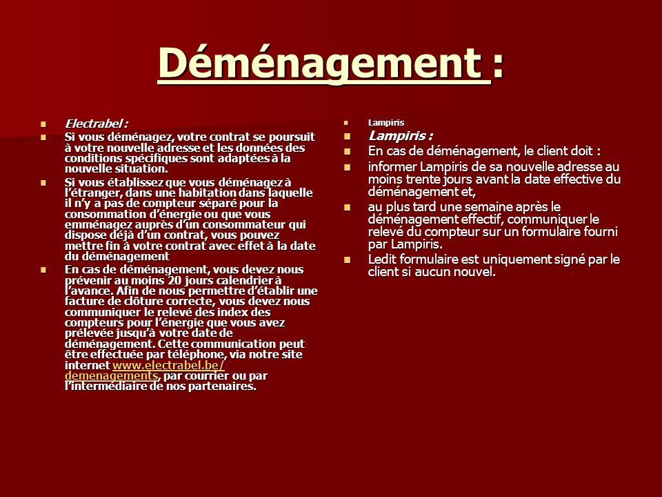 Déménagement : Lampiris : En cas de déménagement, le client doit :