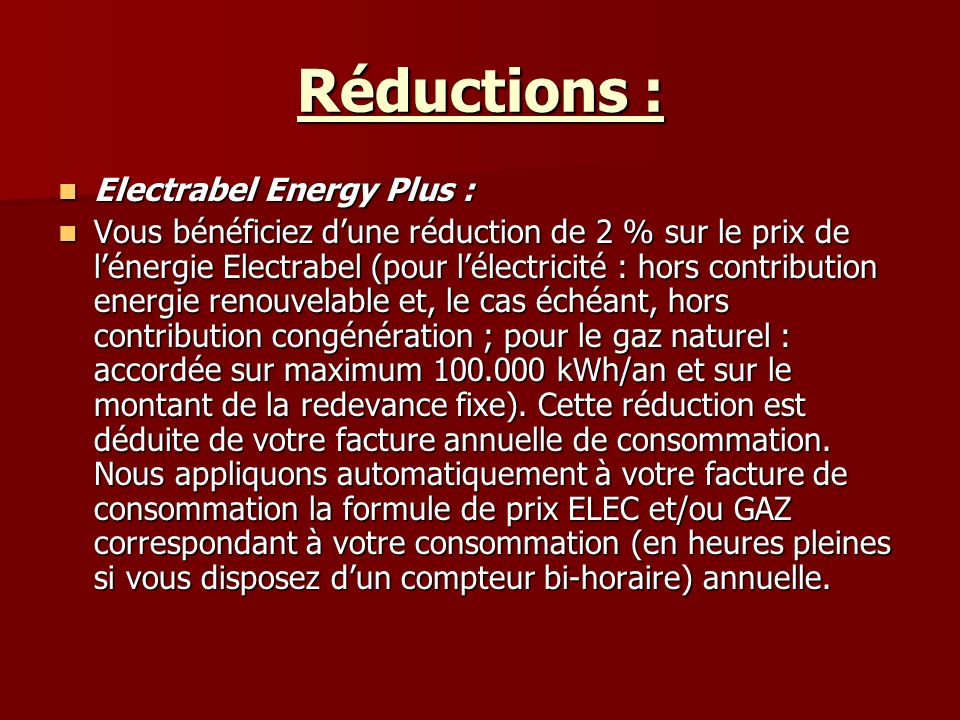 Réductions : Electrabel Energy Plus :