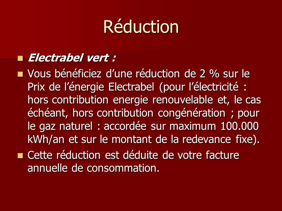 Réduction Electrabel vert :