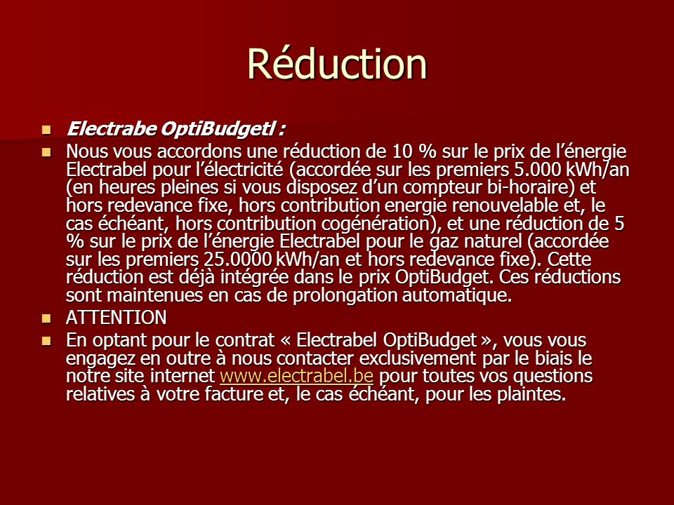 Réduction Electrabe OptiBudgetl :