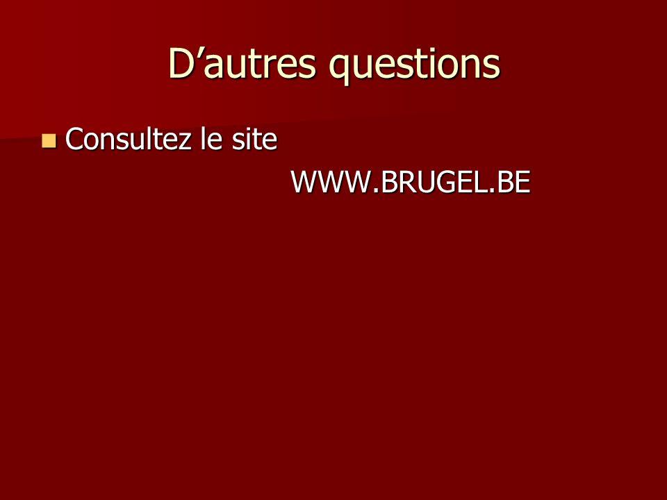 D'autres questions Consultez le site WWW.BRUGEL.BE
