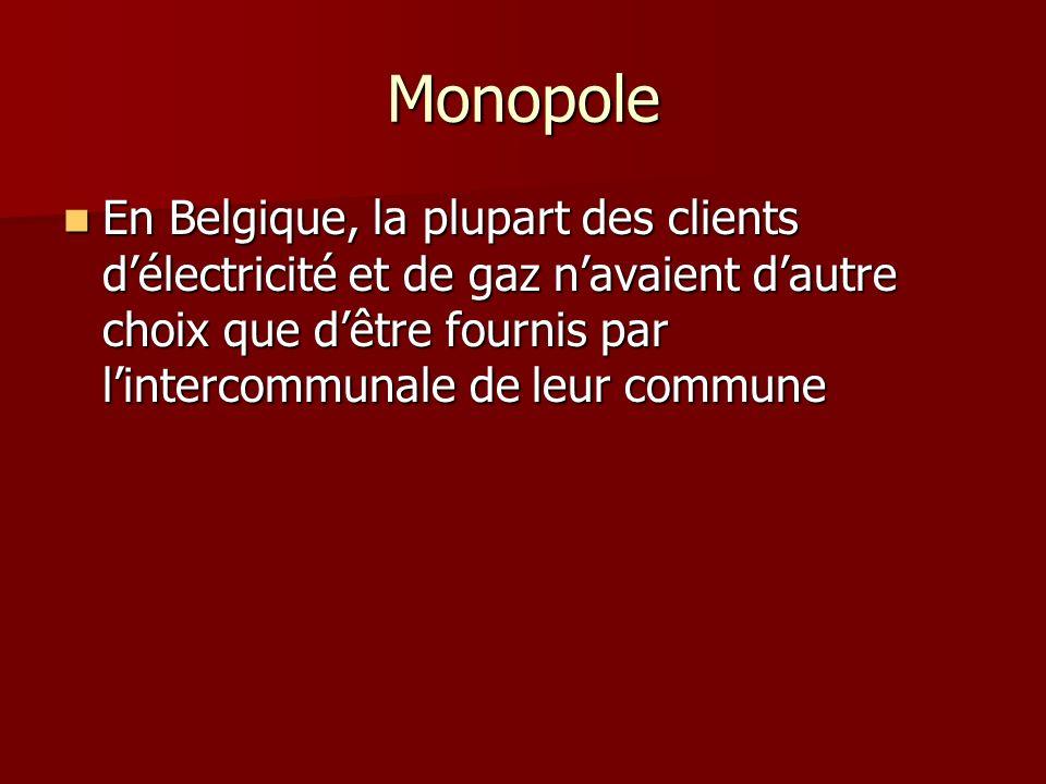 Monopole En Belgique, la plupart des clients d'électricité et de gaz n'avaient d'autre choix que d'être fournis par l'intercommunale de leur commune.