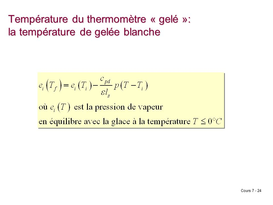 Température du thermomètre « gelé »: la température de gelée blanche