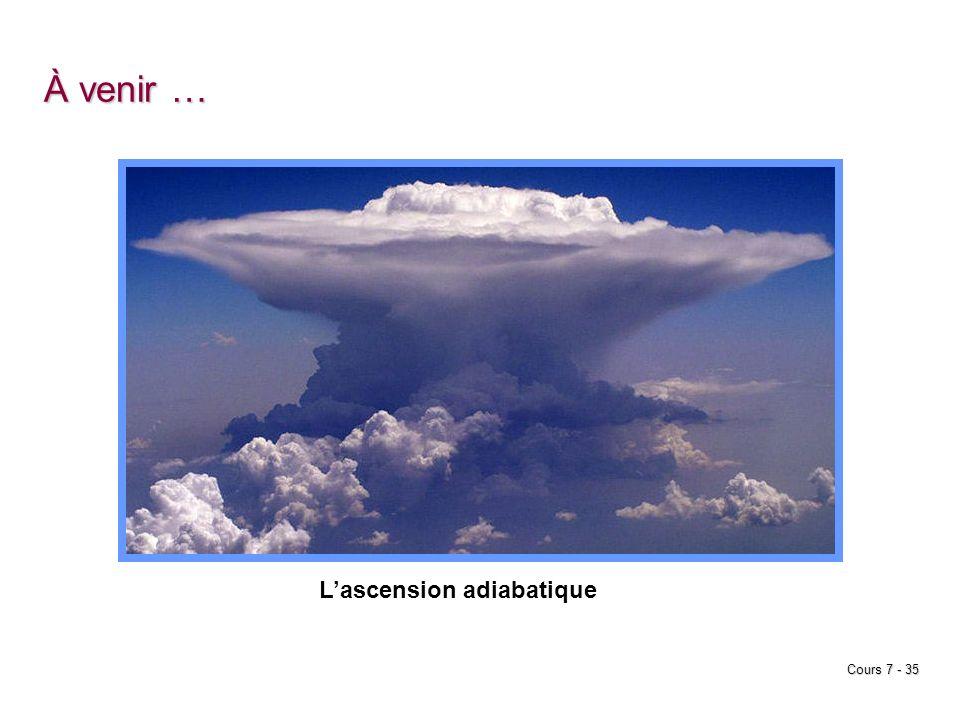 À venir … L'ascension adiabatique