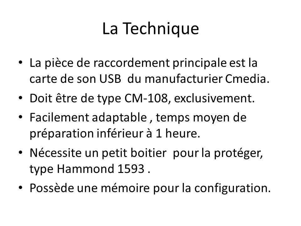 La Technique La pièce de raccordement principale est la carte de son USB du manufacturier Cmedia. Doit être de type CM-108, exclusivement.