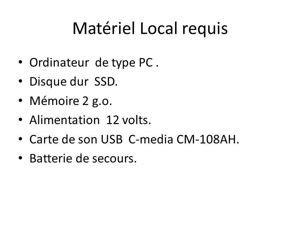 Matériel Local requis Ordinateur de type PC . Disque dur SSD.